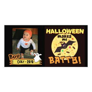 Cartão com fotos do costume do Dia das Bruxas engr