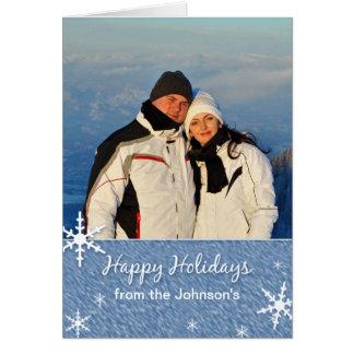 Cartão com fotos do costume do floco de neve do