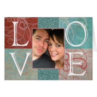 Cartão com fotos do costume dos namorados do AMOR