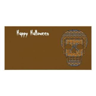 Cartão com fotos do crânio do Dia das Bruxas Cartão Com Foto