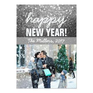 Cartão com fotos do cumprimento do ano novo -