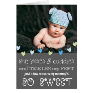 Cartão com fotos do dia das mães dos beijos & dos