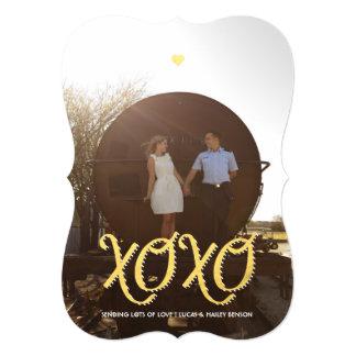 Cartão com fotos do dia dos namorados do ouro XOXO