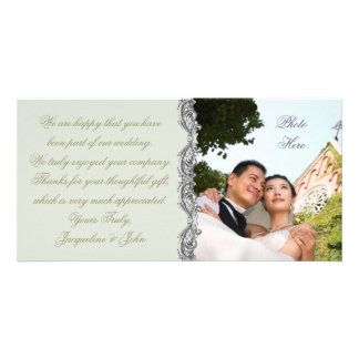 Cartão com fotos do ~ do casamento