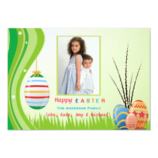 Cartão com fotos do espírito da páscoa convite personalizado