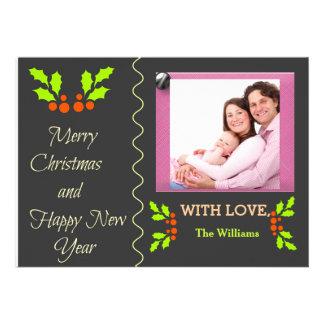 Cartão com fotos do feliz ano novo do Feliz Natal Convite Personalizado
