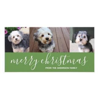 Cartão com fotos do Feliz Natal com 3 fotos
