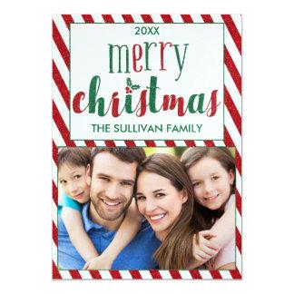 Cartão com fotos do Feliz Natal do brilho do falso Convite 12.7 X 17.78cm
