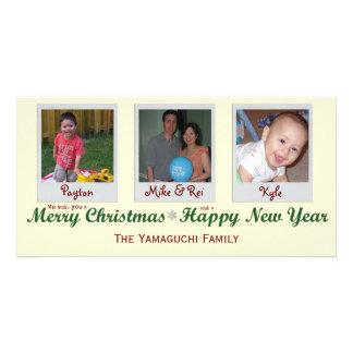 Cartão com fotos do Feliz Natal do floco de neve d