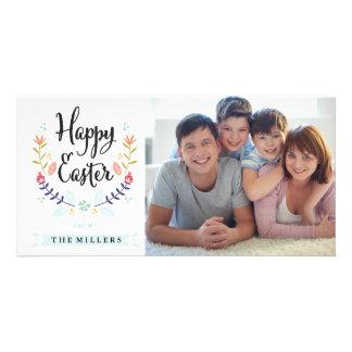 Cartão com fotos do felz pascoa