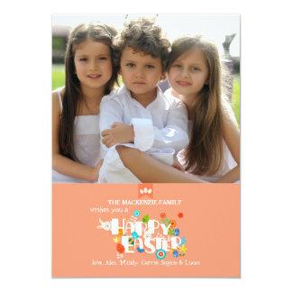 Cartão com fotos do felz pascoa convite 12.7 x 17.78cm