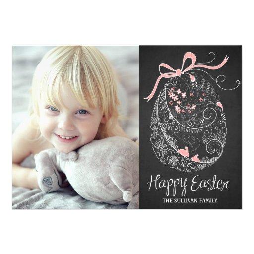 Cartão com fotos do felz pascoa do ovo da páscoa   convites personalizados