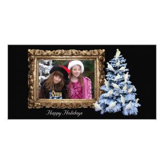 Cartão com fotos do feriado da árvore da pomba hor