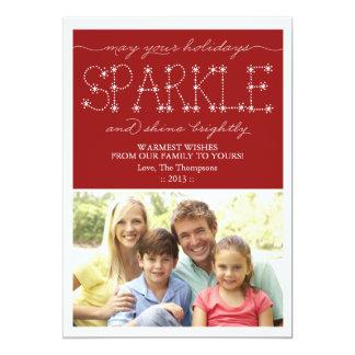 Cartão com fotos do feriado da faísca e do brilho convite 12.7 x 17.78cm