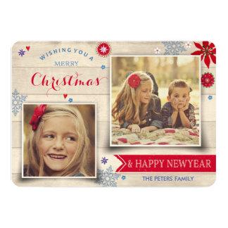 Cartão com fotos do feriado da madeira & do Natal
