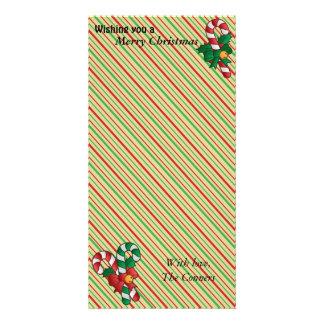 Cartão com fotos do feriado do bastão de doces