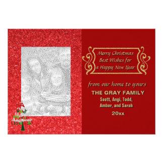 Cartão com fotos do feriado do brilho da árvore do