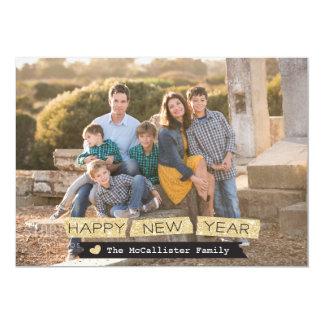 Cartão com fotos do feriado do brilho do feliz ano convite 12.7 x 17.78cm
