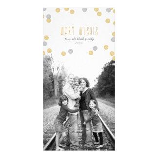 Cartão com fotos do feriado do brilho do ouro cartão com foto