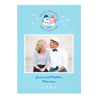 Cartão com fotos do feriado do casal do boneco de  convites personalizados