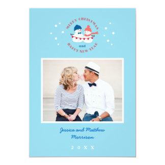 Cartão com fotos do feriado do casal do boneco de convite 12.7 x 17.78cm