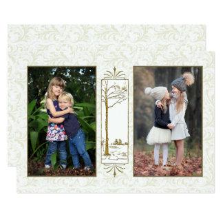 Cartão com fotos do feriado do damasco do estilo convite 12.7 x 17.78cm