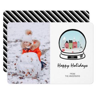 Cartão com fotos do feriado do globo da neve do
