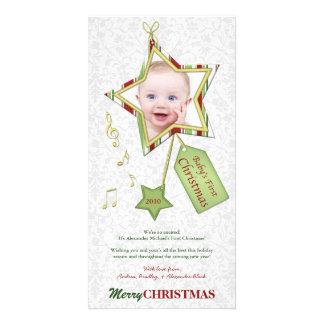 Cartão com fotos do feriado do Natal do bebê prime