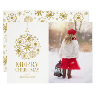 Cartão com fotos do feriado do ornamento do floco
