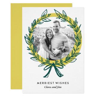 Cartão com fotos do feriado do quadro da grinalda