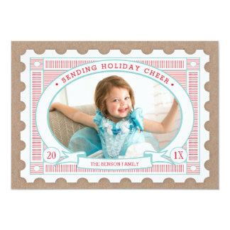Cartão com fotos do feriado do selo postal do convite 12.7 x 17.78cm