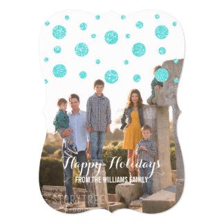 Cartão com fotos do feriado dos confetes do brilho convite 12.7 x 17.78cm