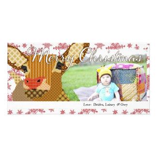 Cartão com fotos do floco de neve do Natal de Rudo