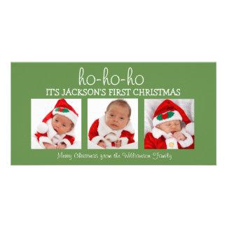 Cartão com fotos do Natal três do bebê primeiro