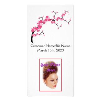 Cartão com fotos do ramo de árvore da flor de cartão com foto