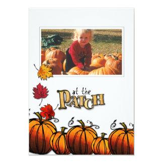 Cartão com fotos do remendo da abóbora convite