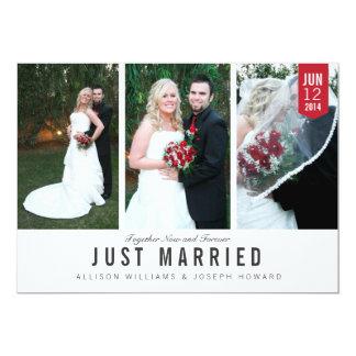 Cartão com fotos do trio do anúncio do casamento convite 12.7 x 17.78cm