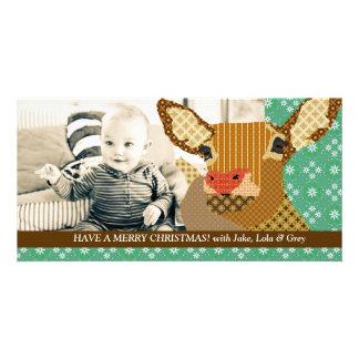 Cartão com fotos do verde do Natal da rena Cartão Com Foto