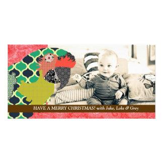 Cartão com fotos do vermelho do Natal do Macaw de