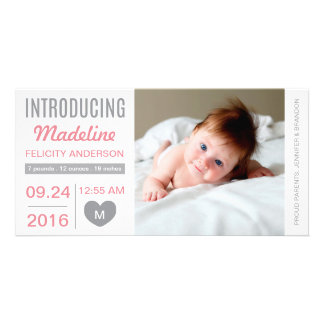 Cartão com fotos doce do anúncio do nascimento da