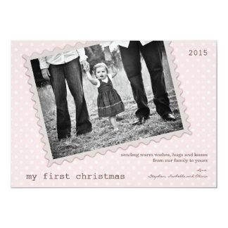 Cartão com fotos doce do bebé do primeiro Natal Convite 12.7 X 17.78cm