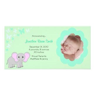 Cartão com fotos dos anúncios do nascimento do beb