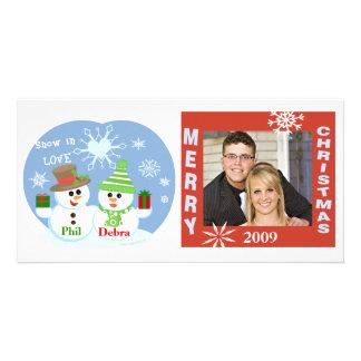 Cartão com fotos dos casais dos bonecos de neve do cartão com foto