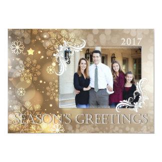 Cartão com fotos dos cumprimentos da estação convite 12.7 x 17.78cm