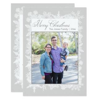 Cartão com fotos dos flocos de neve do Feliz Natal