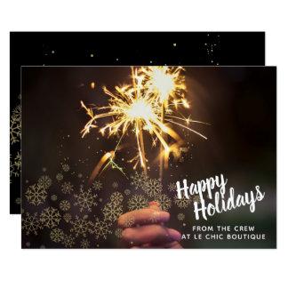Cartão com fotos dos flocos de neve do feriado do