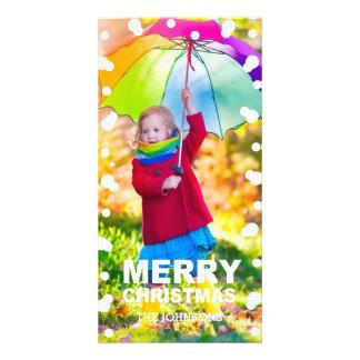 Cartão com fotos dos flocos de neve do Natal