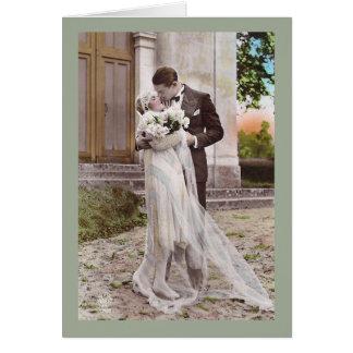 Cartão com fotos dos noivos do art deco do 1920 do