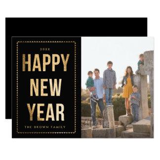 Cartão com fotos dourado do feliz ano novo no convite 12.7 x 17.78cm