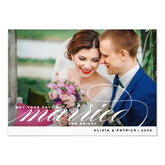 Cartão com fotos elegante casado & brilhante do convite 12.7 x 17.78cm